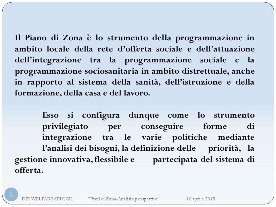 Il Piano di Zona è lo strumento della programmazione in ambito locale della rete d'offerta sociale e dell'attuazione dell'integrazione tra la programm