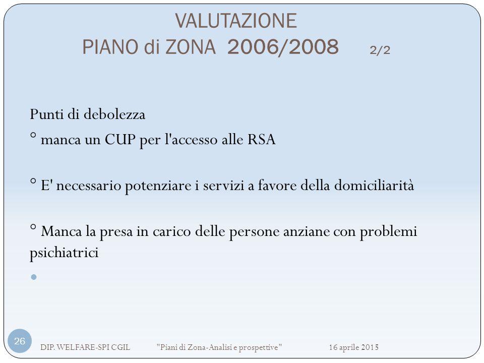 VALUTAZIONE PIANO di ZONA 2006/2008 2/2 DIP. WELFARE-SPI CGIL