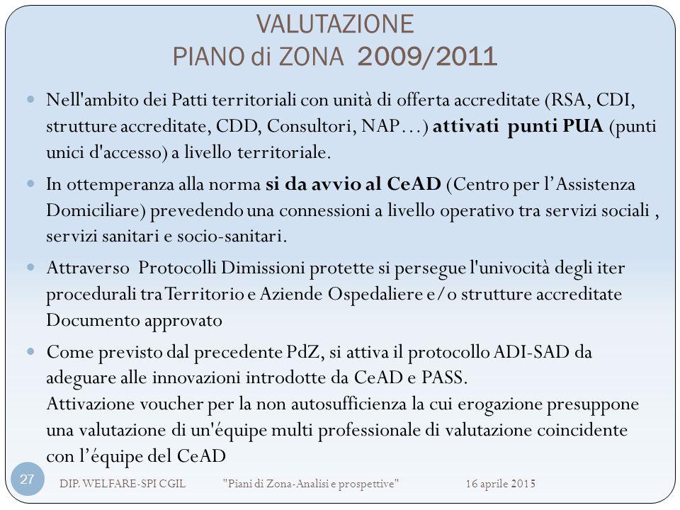 VALUTAZIONE PIANO di ZONA 2009/2011 DIP. WELFARE-SPI CGIL