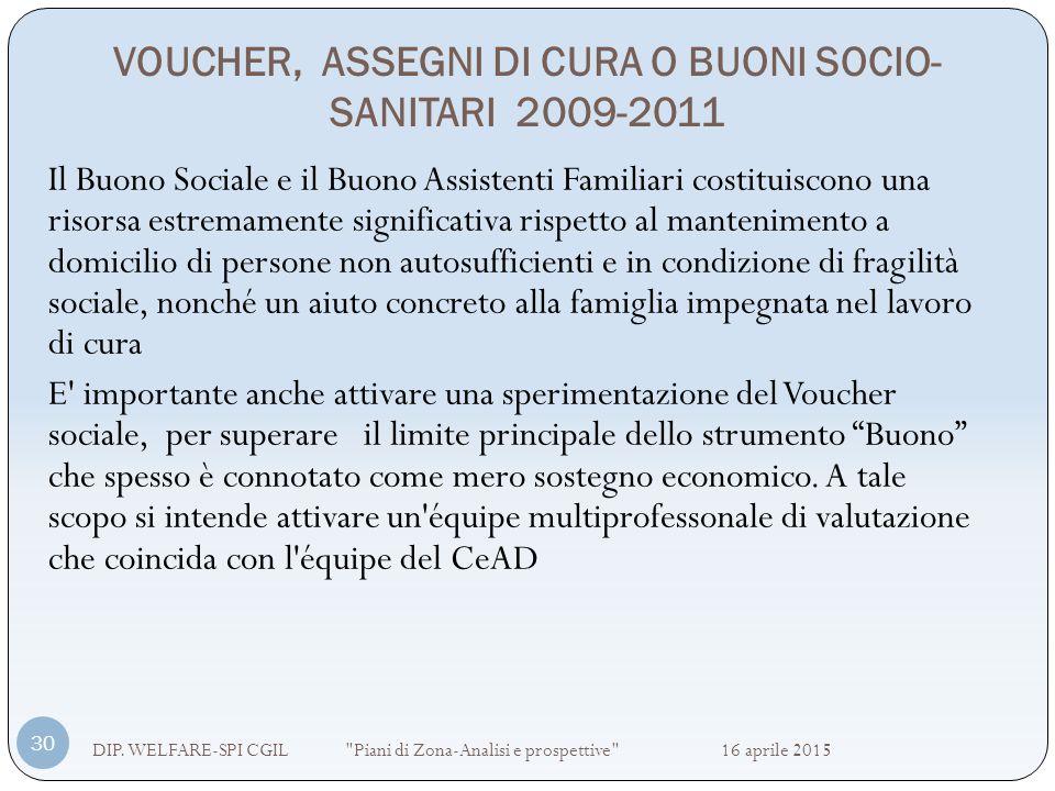 VOUCHER, ASSEGNI DI CURA O BUONI SOCIO- SANITARI 2009-2011 DIP. WELFARE-SPI CGIL