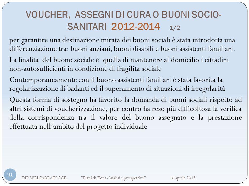 VOUCHER, ASSEGNI DI CURA O BUONI SOCIO- SANITARI 2012-2014 1/2 DIP. WELFARE-SPI CGIL
