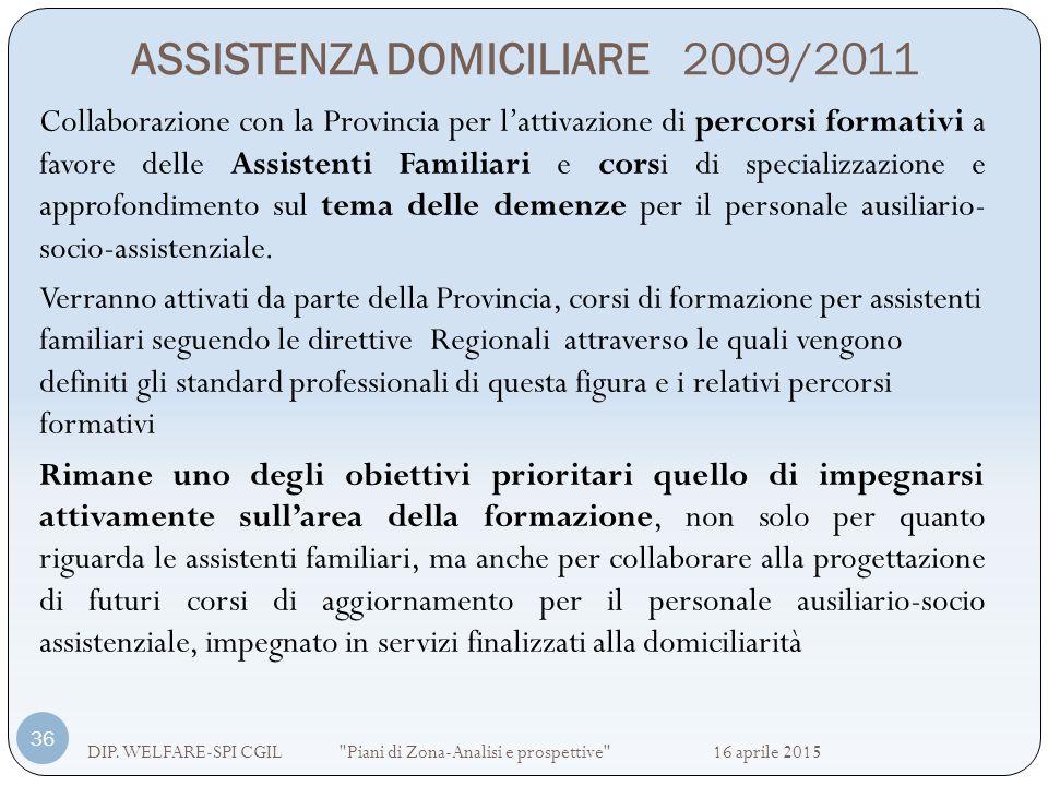 ASSISTENZA DOMICILIARE 2009/2011 DIP. WELFARE-SPI CGIL