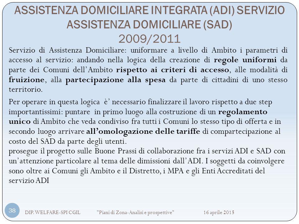 ASSISTENZA DOMICILIARE INTEGRATA (ADI) SERVIZIO ASSISTENZA DOMICILIARE (SAD) 2009/2011 DIP. WELFARE-SPI CGIL