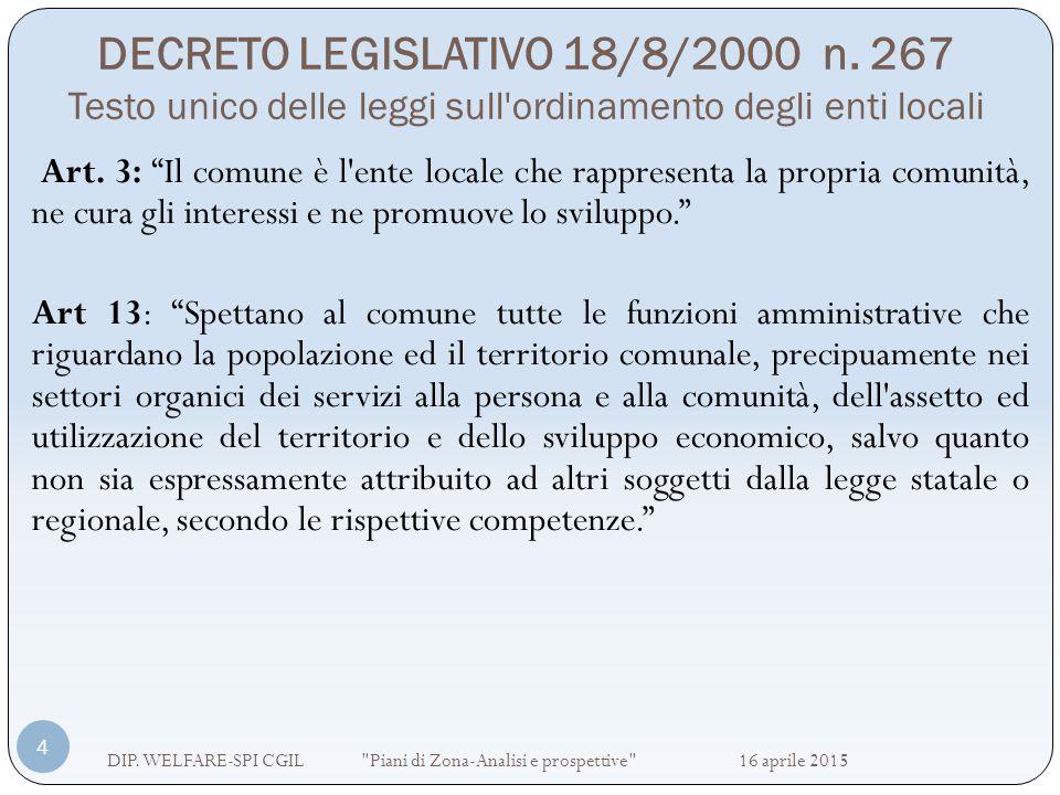 DECRETO LEGISLATIVO 18/8/2000 n. 267 Testo unico delle leggi sull'ordinamento degli enti locali DIP. WELFARE-SPI CGIL