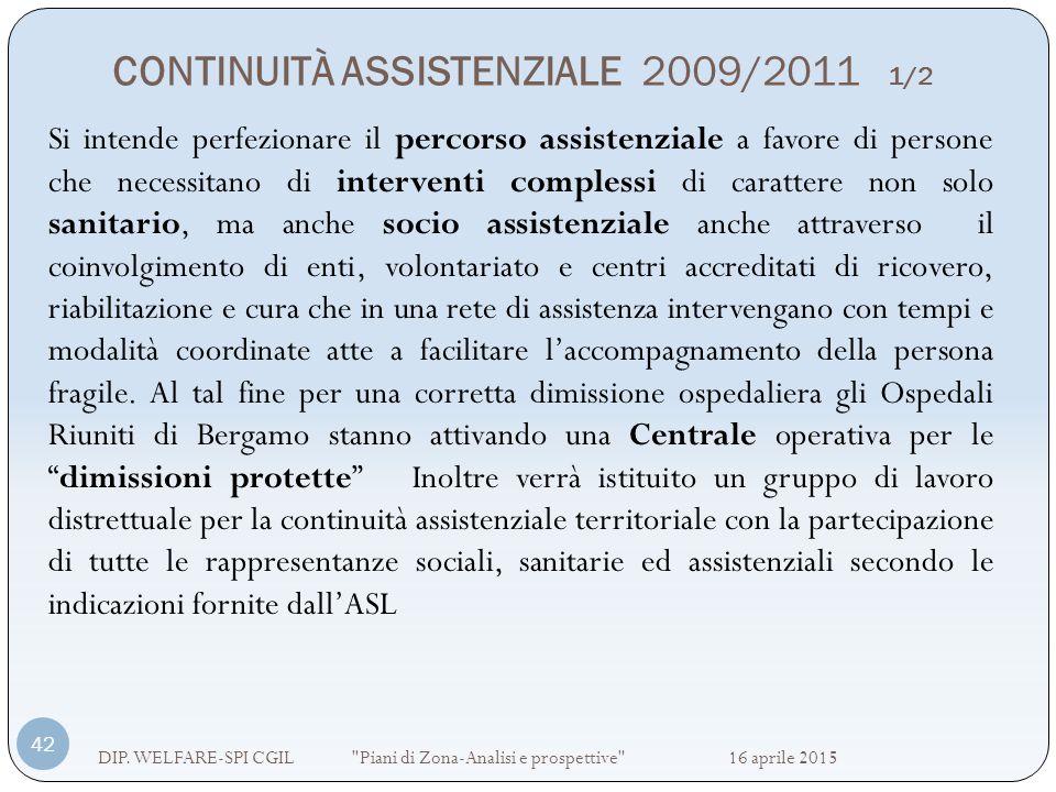 CONTINUITÀ ASSISTENZIALE 2009/2011 1/2 DIP. WELFARE-SPI CGIL