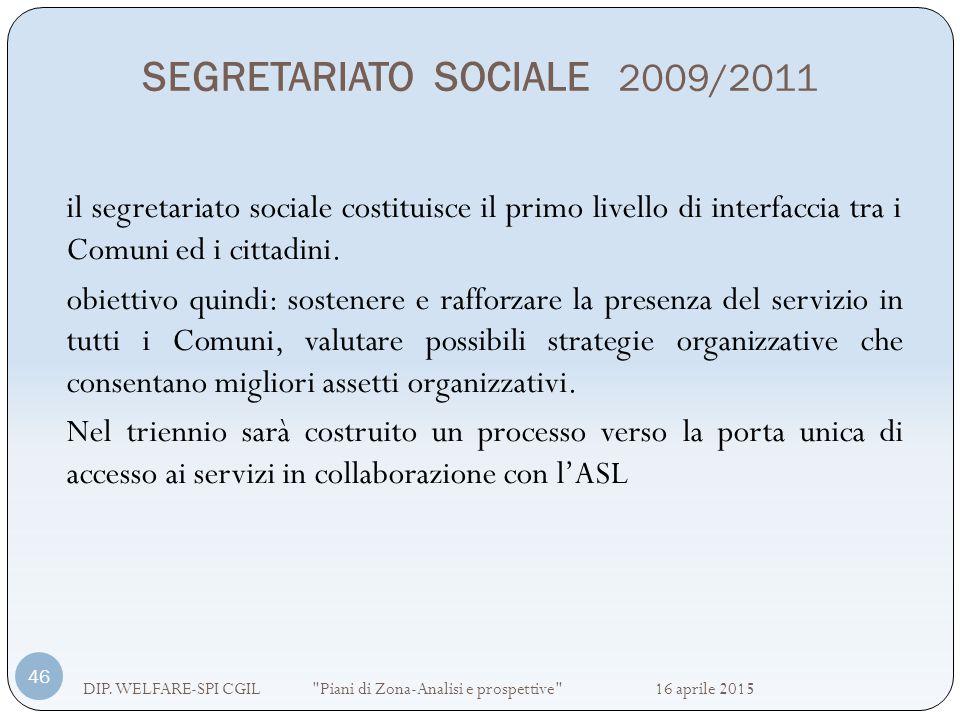 SEGRETARIATO SOCIALE 2009/2011 DIP. WELFARE-SPI CGIL