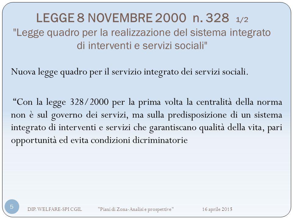 LEGGE 8 NOVEMBRE 2000 n. 328 1/2