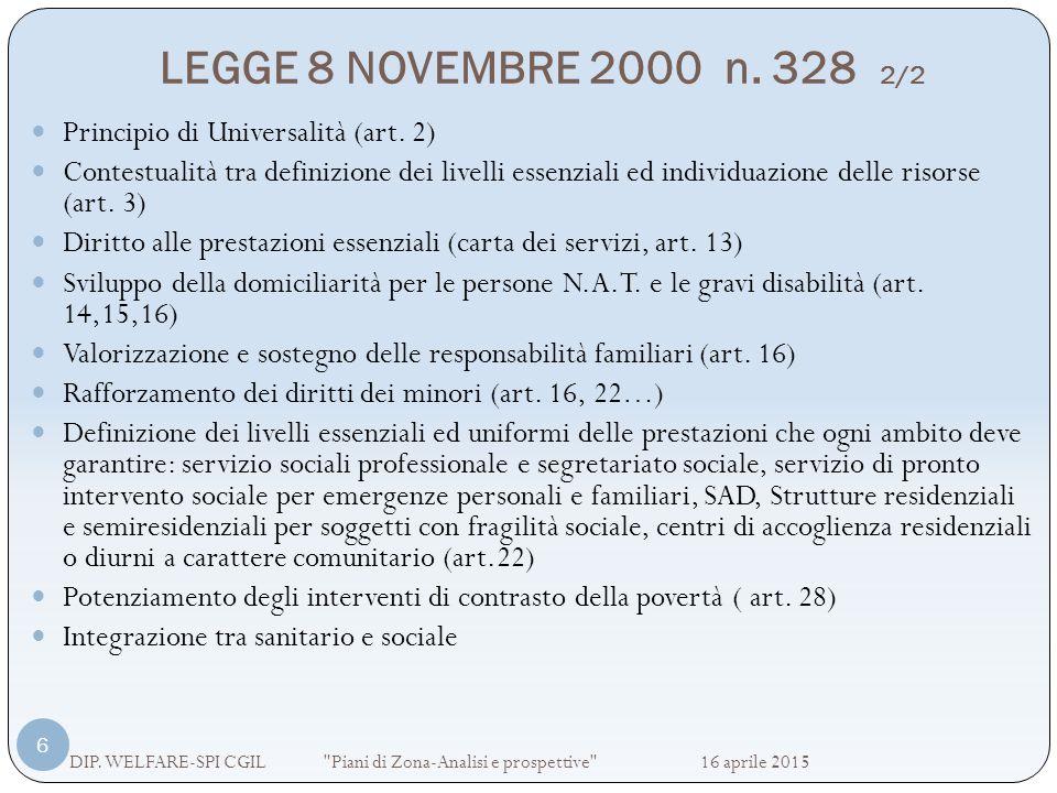 LEGGE 8 NOVEMBRE 2000 n. 328 2/2 DIP. WELFARE-SPI CGIL