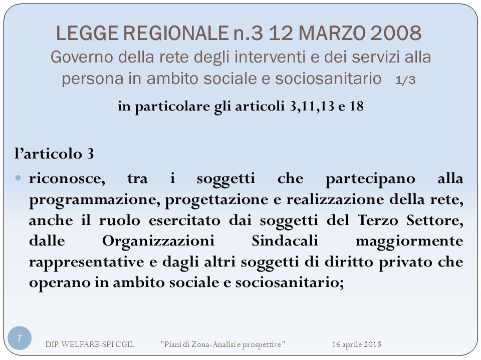 LEGGE REGIONALE n.3 12 MARZO 2008 Governo della rete degli interventi e dei servizi alla persona in ambito sociale e sociosanitario 1/3 DIP. WELFARE-S
