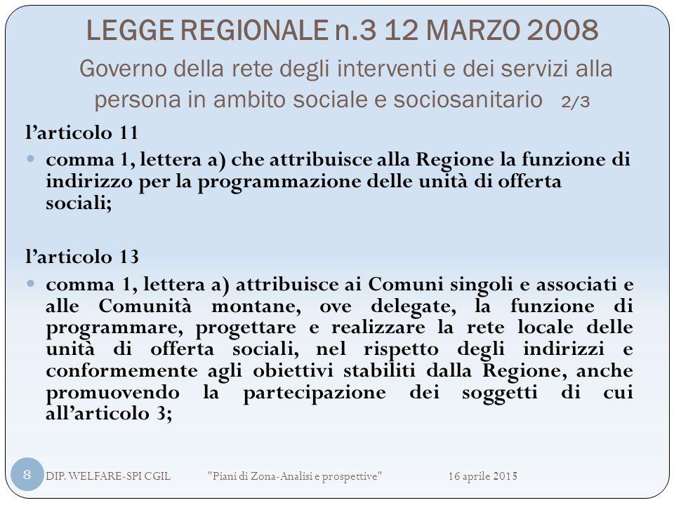 LEGGE REGIONALE n.3 12 MARZO 2008 Governo della rete degli interventi e dei servizi alla persona in ambito sociale e sociosanitario 3/3 DIP.