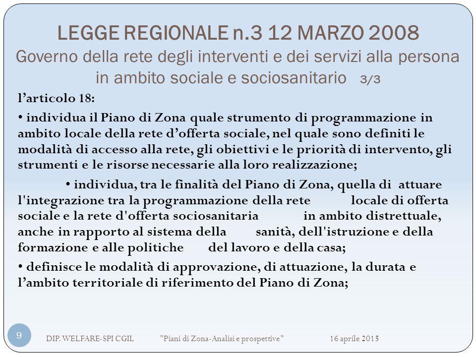 LEGGE REGIONALE n.3 12 MARZO 2008 Governo della rete degli interventi e dei servizi alla persona in ambito sociale e sociosanitario 3/3 DIP. WELFARE-S