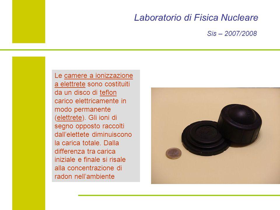 Laboratorio di Fisica Nucleare Sis – 2007/2008 Le camere a ionizzazione a elettrete sono costituiti da un disco di teflon carico elettricamente in modo permanente (elettrete).