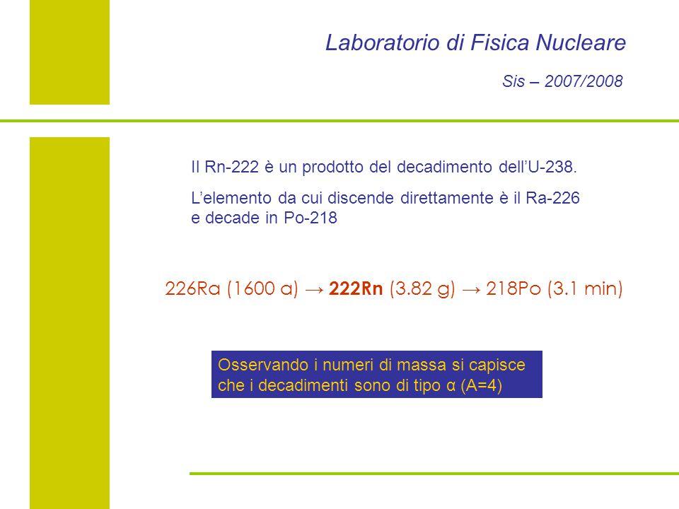 Laboratorio di Fisica Nucleare Sis – 2007/2008 Il Rn-222 è un prodotto del decadimento dell'U-238.