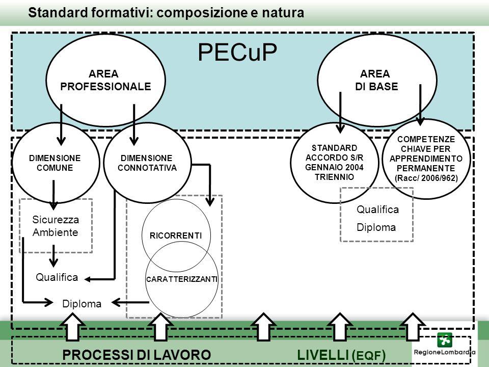 Standard formativi: composizione e natura AREA PROFESSIONALE AREA DI BASE Sicurezza Ambiente Qualifica Diploma RICORRENTI C ARATTERIZZANTI PECuP Quali