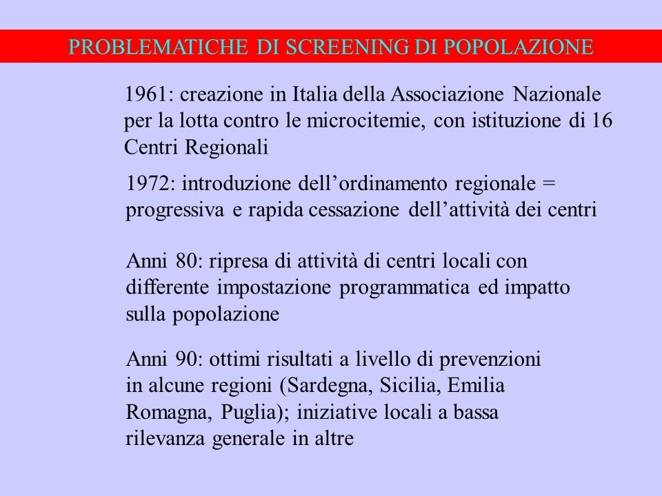 PROBLEMATICHE DI SCREENING DI POPOLAZIONE 1961: creazione in Italia della Associazione Nazionale per la lotta contro le microcitemie, con istituzione