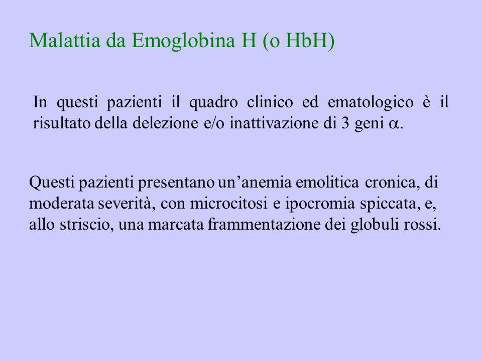 Malattia da Emoglobina H (o HbH) In questi pazienti il quadro clinico ed ematologico è il risultato della delezione e/o inattivazione di 3 geni . Que