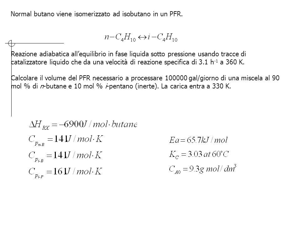 Normal butano viene isomerizzato ad isobutano in un PFR. Reazione adiabatica all'equilibrio in fase liquida sotto pressione usando tracce di catalizza