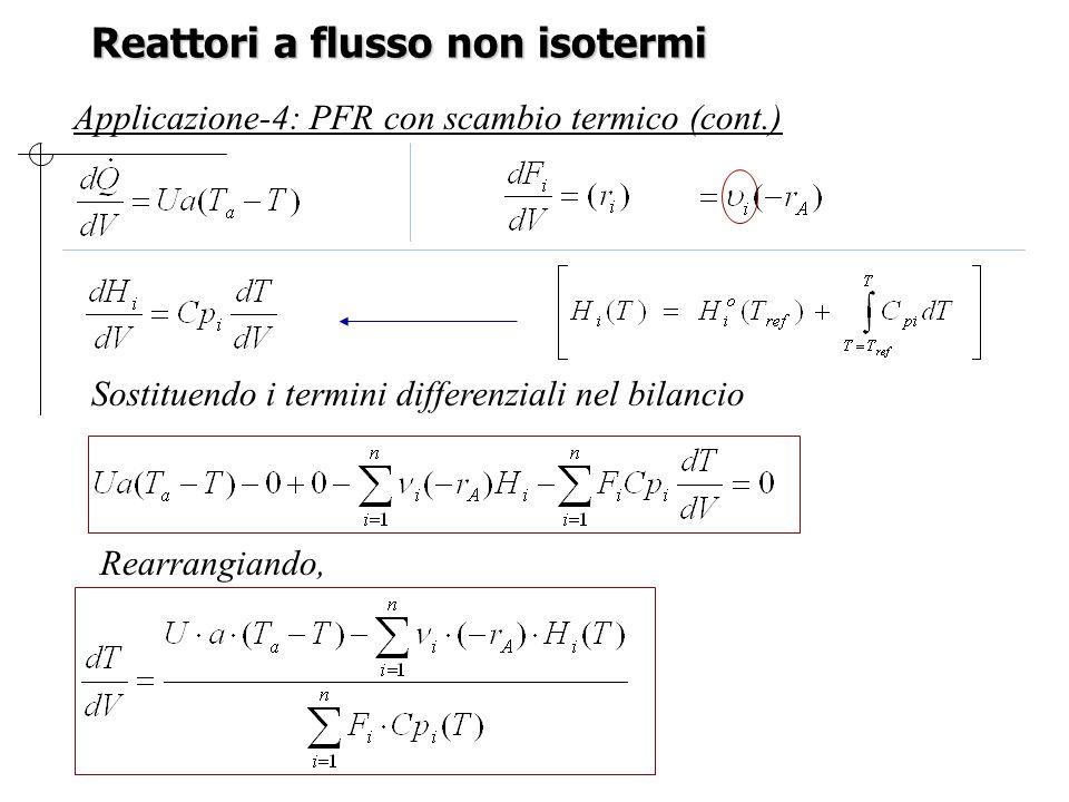 Reattori a flusso non isotermi Applicazione-4: PFR con scambio termico (cont.) Rearrangiando, Sostituendo i termini differenziali nel bilancio