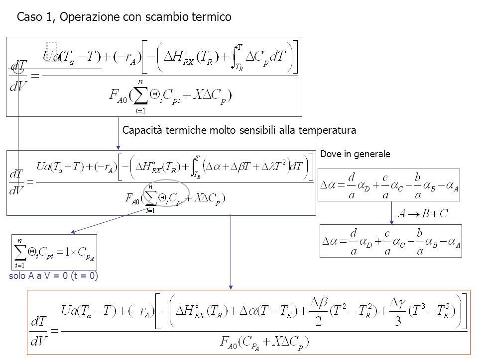 Caso 1, Operazione con scambio termico Capacità termiche molto sensibili alla temperatura Dove in generale solo A a V = 0 (t = 0)