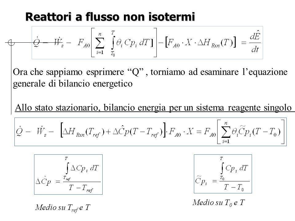 Reattori a flusso non isotermi Ora che sappiamo esprimere Q , torniamo ad esaminare l'equazione generale di bilancio energetico Allo stato stazionario, bilancio energia per un sistema reagente singolo Medio su T 0 e T Medio su T ref e T