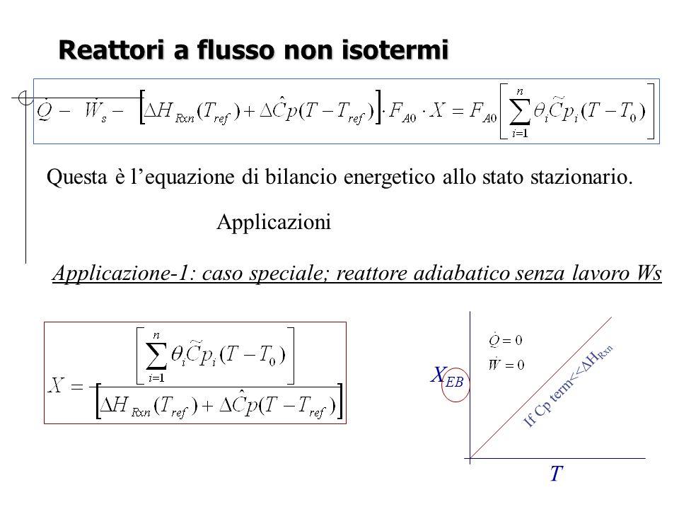 Reattori a flusso non isotermi Questa è l'equazione di bilancio energetico allo stato stazionario. Applicazioni Applicazione-1: caso speciale; reattor