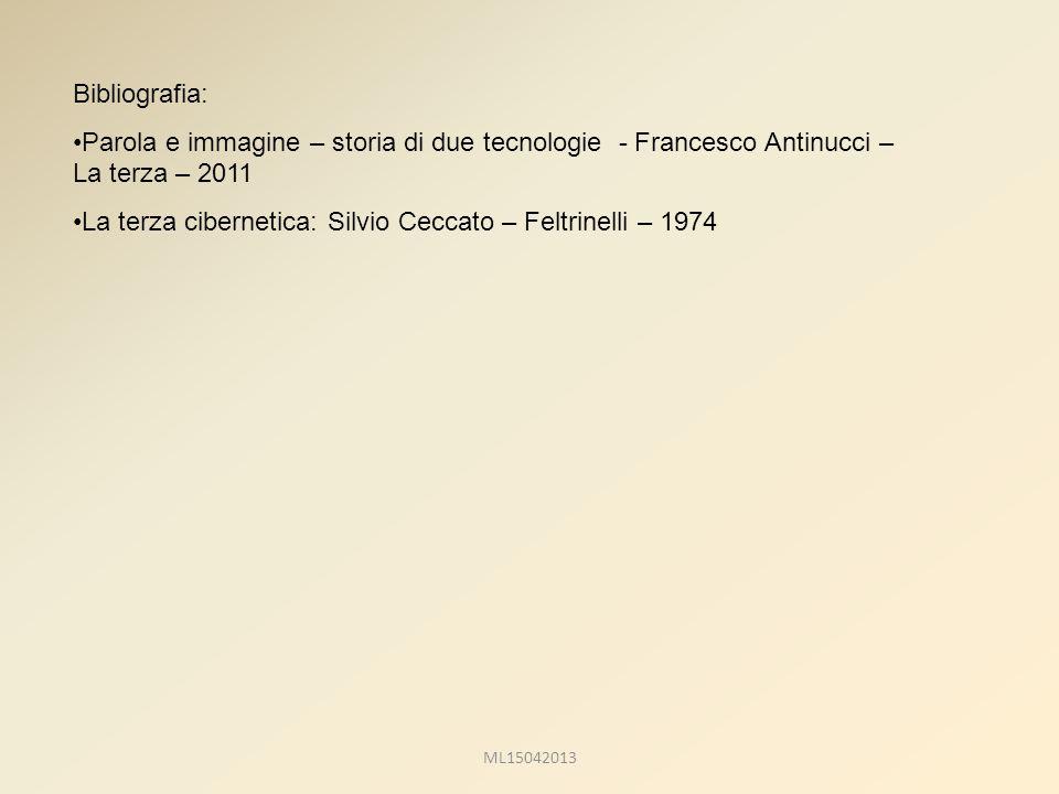 Bibliografia: Parola e immagine – storia di due tecnologie - Francesco Antinucci – La terza – 2011 La terza cibernetica: Silvio Ceccato – Feltrinelli – 1974 ML15042013