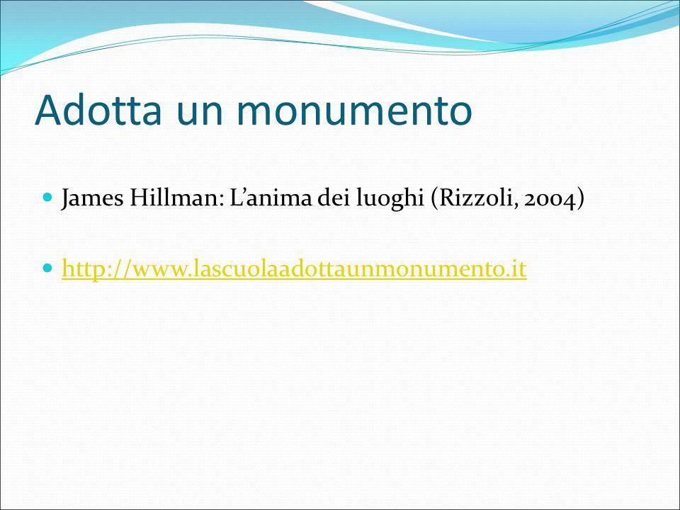 Adotta un monumento James Hillman: L'anima dei luoghi (Rizzoli, 2004) http://www.lascuolaadottaunmonumento.it