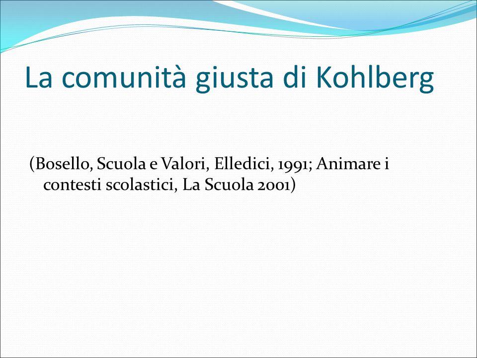 La comunità giusta di Kohlberg (Bosello, Scuola e Valori, Elledici, 1991; Animare i contesti scolastici, La Scuola 2001)
