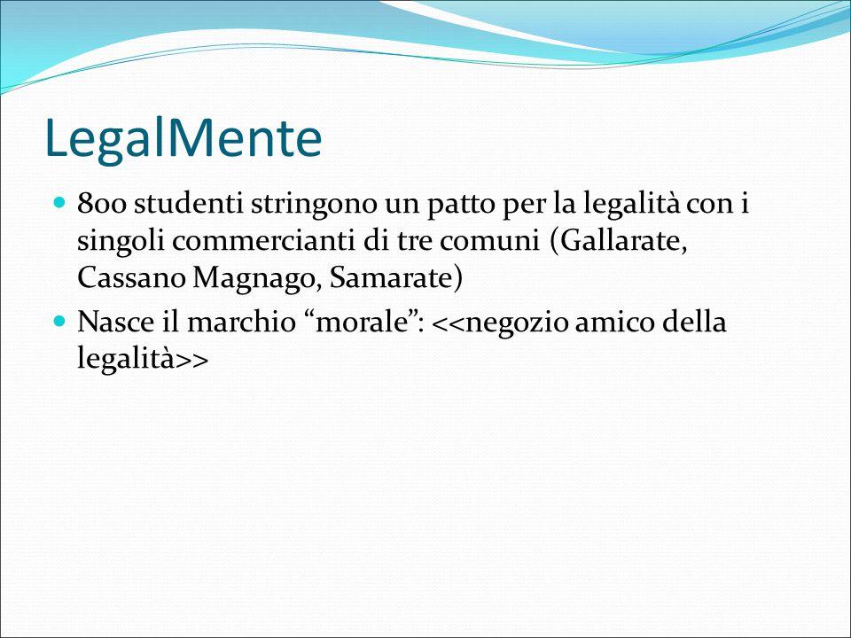 LegalMente 800 studenti stringono un patto per la legalità con i singoli commercianti di tre comuni (Gallarate, Cassano Magnago, Samarate) Nasce il ma