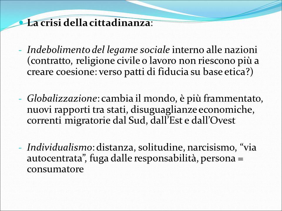 La crisi della cittadinanza: - Indebolimento del legame sociale interno alle nazioni (contratto, religione civile o lavoro non riescono più a creare c