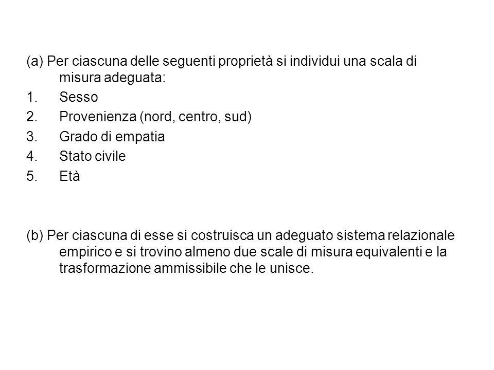 Sesso - Sistema empirico: classificatorio - Scala: nominale - Trasformazioni permissibili: corrispondenze biunivoche - E' una relazione riflessiva, simmetrica e transitiva (EQUIVALENZA)