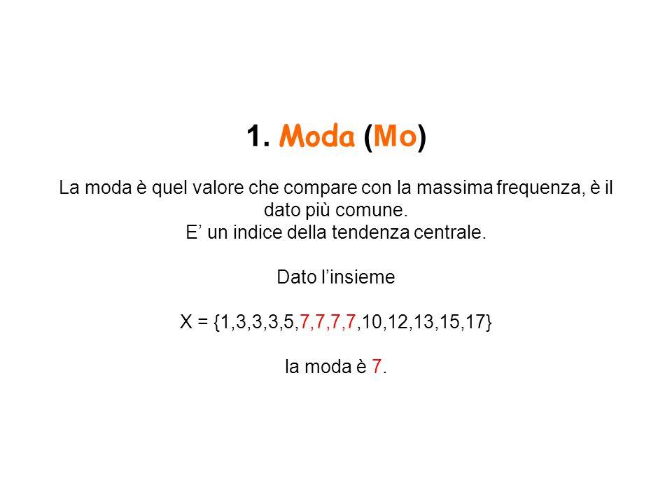 1. Moda (Mo) La moda è quel valore che compare con la massima frequenza, è il dato più comune. E' un indice della tendenza centrale. Dato l'insieme X