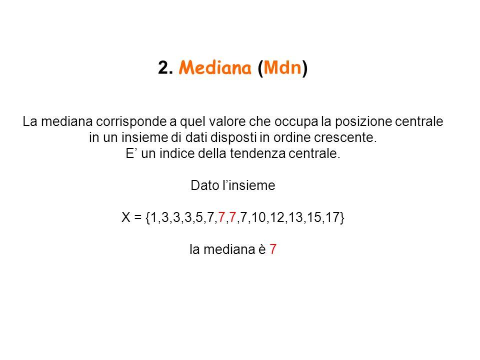 2. Mediana (Mdn) La mediana corrisponde a quel valore che occupa la posizione centrale in un insieme di dati disposti in ordine crescente. E' un indic