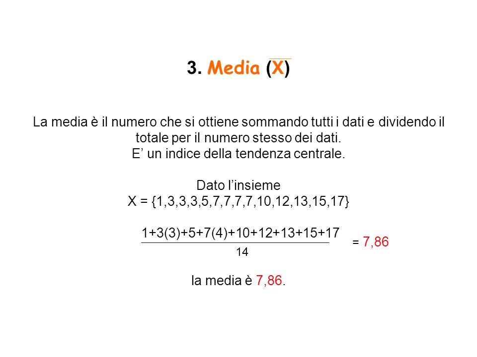 3. Media (X) La media è il numero che si ottiene sommando tutti i dati e dividendo il totale per il numero stesso dei dati. E' un indice della tendenz