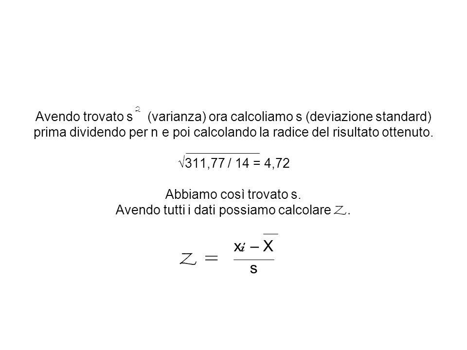 Avendo trovato s (varianza) ora calcoliamo s (deviazione standard) prima dividendo per n e poi calcolando la radice del risultato ottenuto. √311,77 /