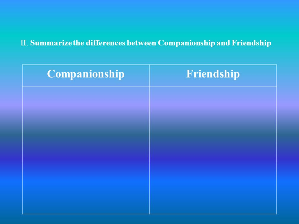 II. Summarize the differences between Companionship and Friendship CompanionshipFriendship