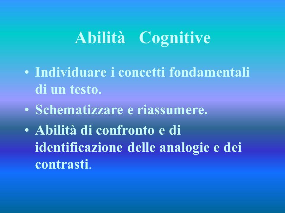 Abilità Cognitive Individuare i concetti fondamentali di un testo. Schematizzare e riassumere. Abilità di confronto e di identificazione delle analogi