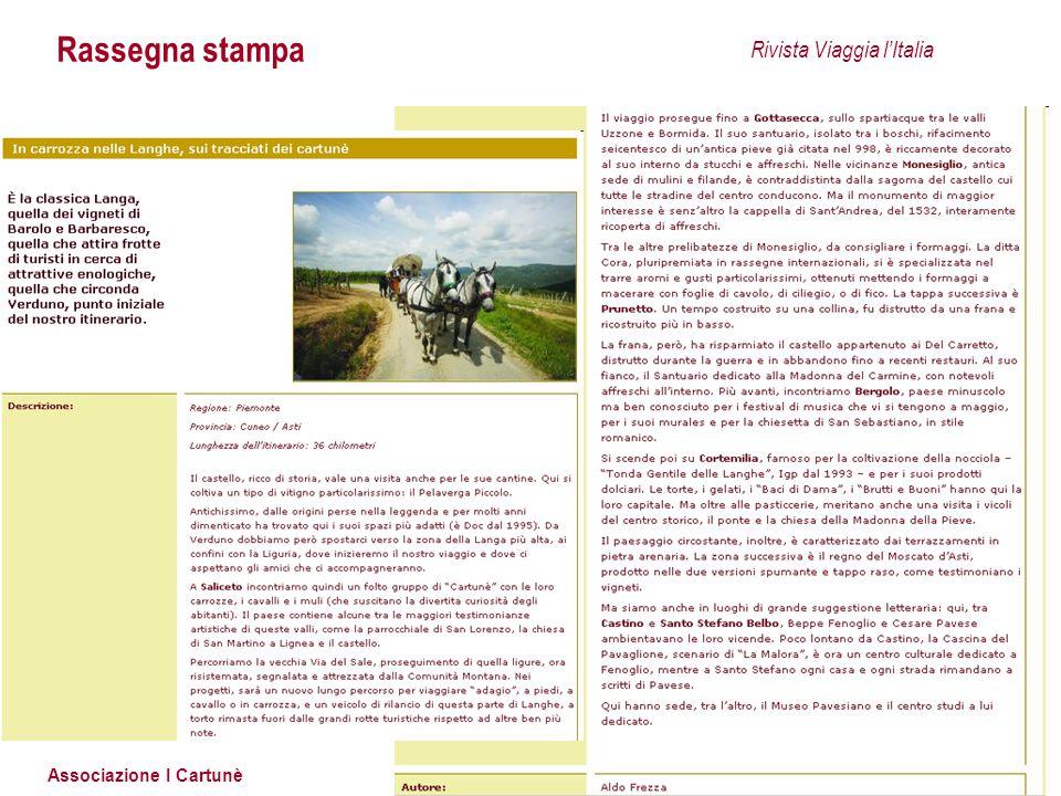 Associazione I Cartunè Rassegna stampa Rivista Viaggia l'Italia
