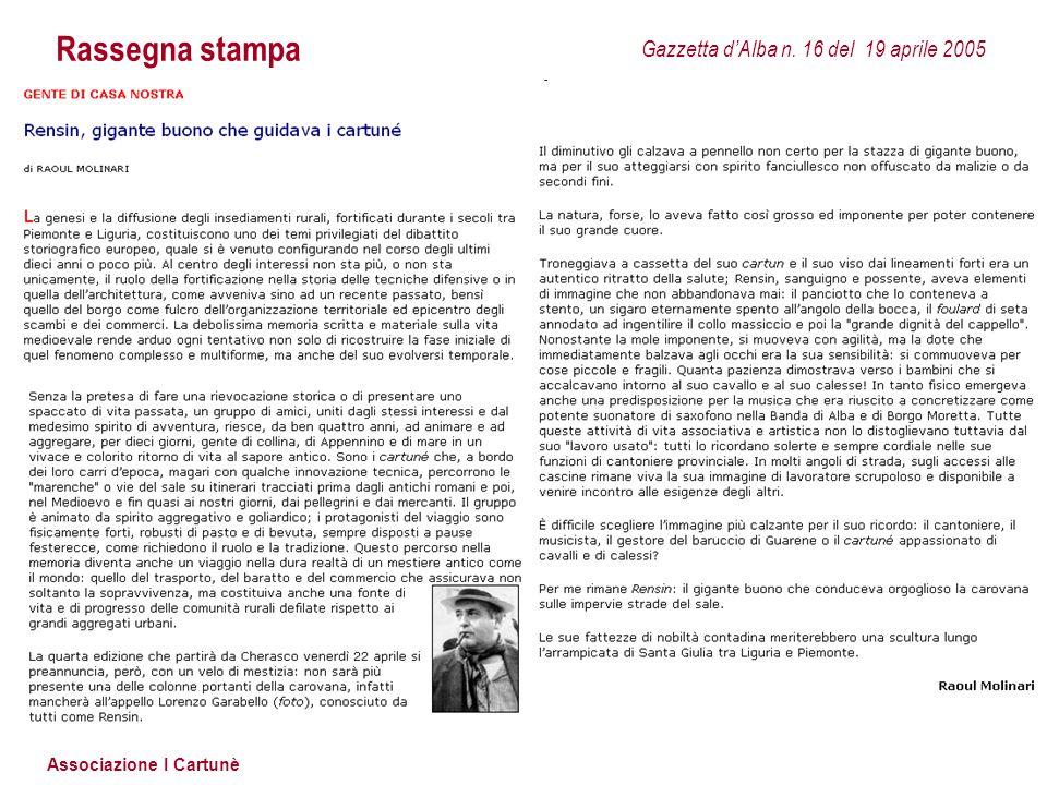 Associazione I Cartunè Rassegna stampa Gazzetta d'Alba n. 93 del 13 novembre 2007