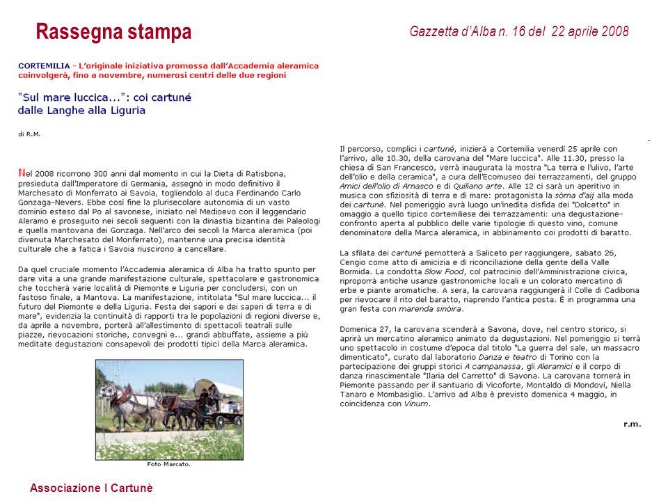 Associazione I Cartunè Rassegna stampa Gazzetta d'Alba n. 16 del 22 aprile 2008