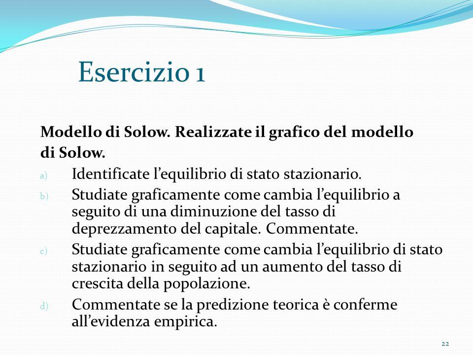 22 Esercizio 1 Modello di Solow. Realizzate il grafico del modello di Solow. a) Identificate l'equilibrio di stato stazionario. b) Studiate graficamen