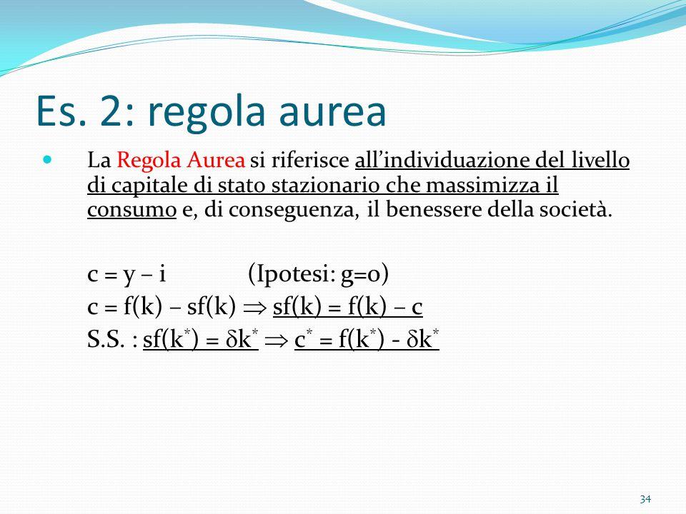 34 Es. 2: regola aurea La Regola Aurea si riferisce all'individuazione del livello di capitale di stato stazionario che massimizza il consumo e, di co