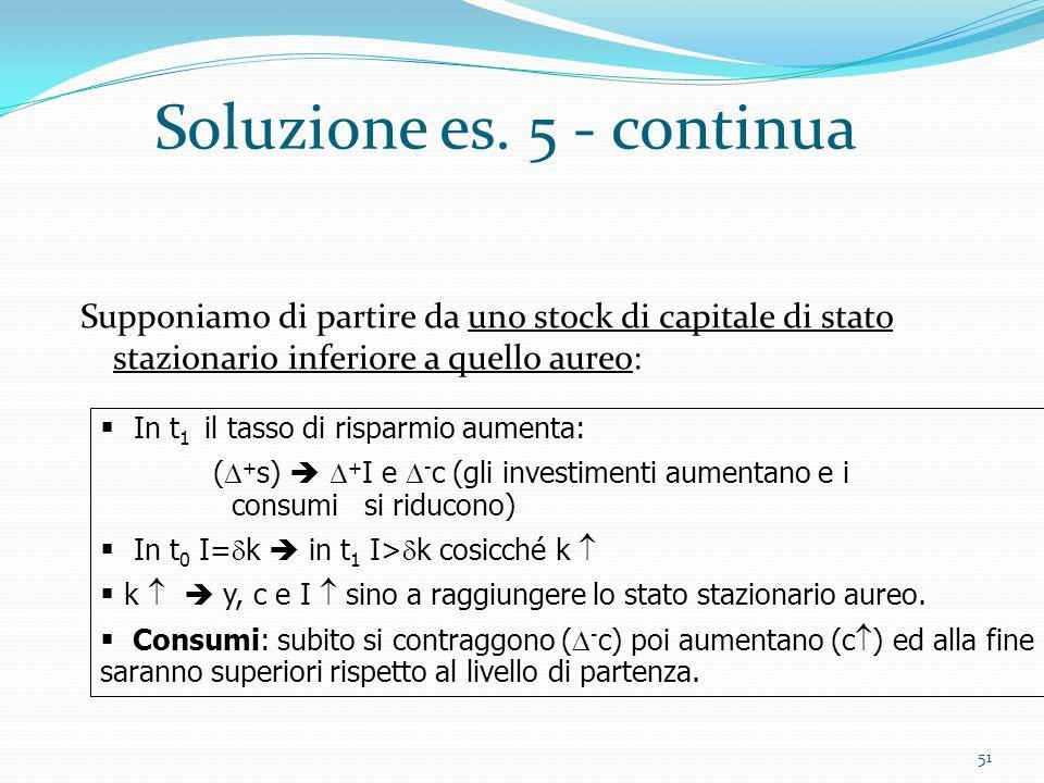 51 Soluzione es. 5 - continua Supponiamo di partire da uno stock di capitale di stato stazionario inferiore a quello aureo:  In t 1 il tasso di rispa
