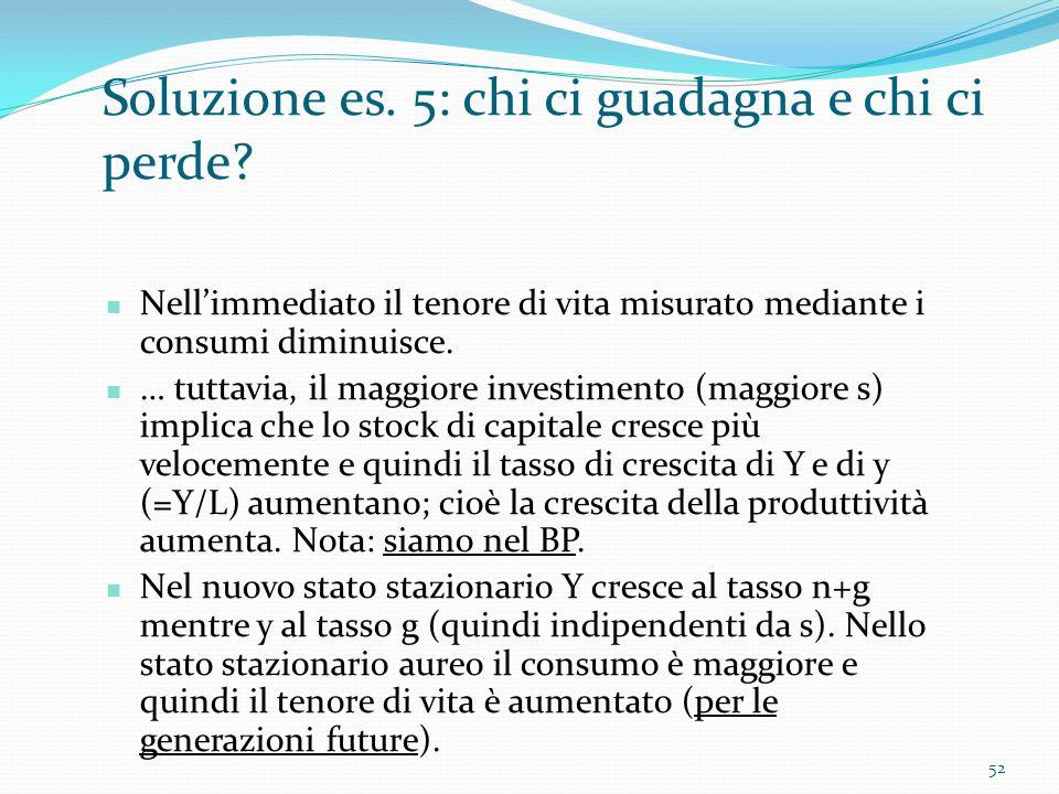 52 Soluzione es. 5: chi ci guadagna e chi ci perde? Nell'immediato il tenore di vita misurato mediante i consumi diminuisce. … tuttavia, il maggiore i