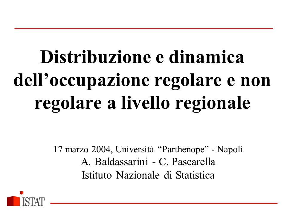 Distribuzione e dinamica dell'occupazione regolare e non regolare a livello regionale 17 marzo 2004, Università Parthenope - Napoli A.
