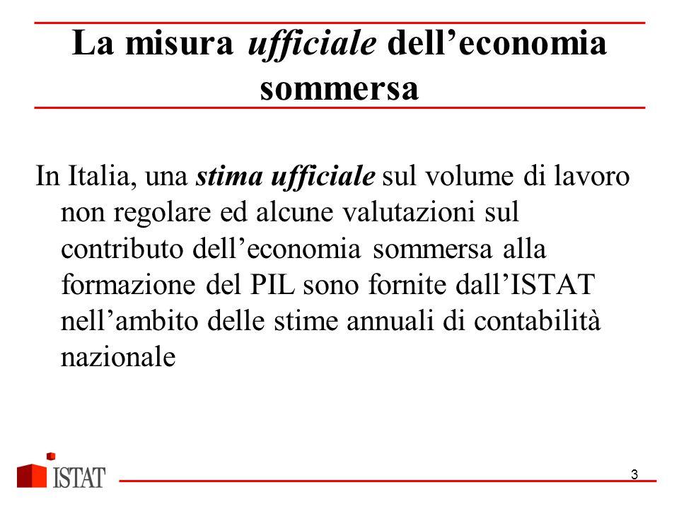 3 La misura ufficiale dell'economia sommersa In Italia, una stima ufficiale sul volume di lavoro non regolare ed alcune valutazioni sul contributo dell'economia sommersa alla formazione del PIL sono fornite dall'ISTAT nell'ambito delle stime annuali di contabilità nazionale