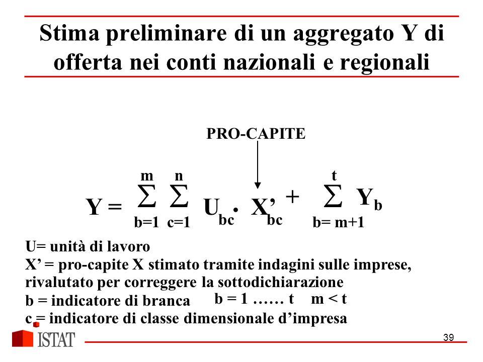 39 UX' n  c=1 m  b=1 Y = t +  Y b b= m+1 U= unità di lavoro X' = pro-capite X stimato tramite indagini sulle imprese, rivalutato per correggere la sottodichiarazione b = indicatore di branca c = indicatore di classe dimensionale d'impresa Stima preliminare di un aggregato Y di offerta nei conti nazionali e regionali bc b = 1 …… tm < t PRO-CAPITE
