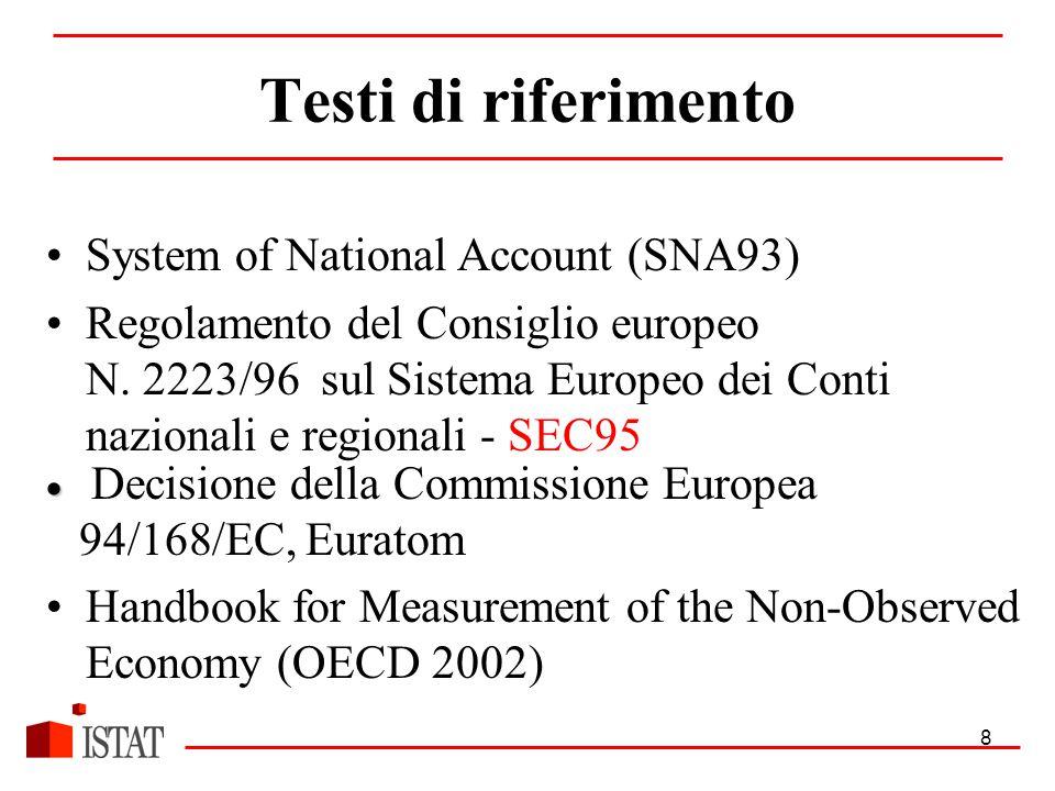 8 Testi di riferimento System of National Account (SNA93) Regolamento del Consiglio europeo N.