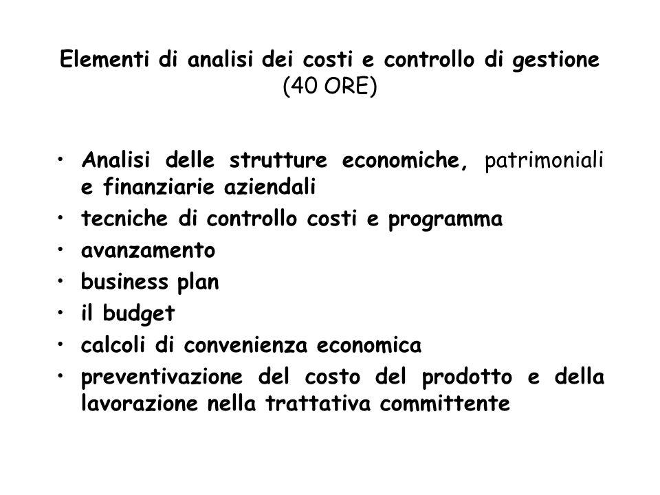 Elementi di analisi dei costi e controllo di gestione (40 ORE) Analisi delle strutture economiche, patrimoniali e finanziarie aziendali tecniche di co