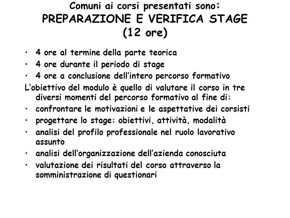 Comuni ai corsi presentati sono : PREPARAZIONE E VERIFICA STAGE (12 ore) 4 ore al termine della parte teorica 4 ore durante il periodo di stage 4 ore